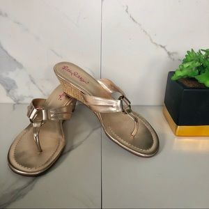 Lilly Pulitzer Gold McKim Wedge Sandal